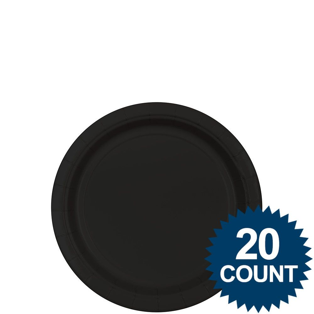 Picture 1 of 2 ...  sc 1 st  eBay & Amscan Bb100243 Black 7 In. Paper Plates 20 Ct. | eBay